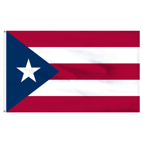 Puerto Rico flag 4ft x 6ft nylon-Indoor: Add Pole Hem and Fringe