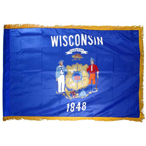 Wisconsin Flag 4 x 6 Feet Nylon Flag-Indoor: Add Pole Hem and Fringe