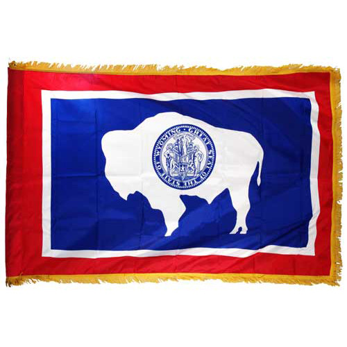 Wyoming 4 x 6 Nylon Flag-Indoor: Add Pole Hem and Fringe