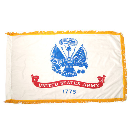 Indoor Army Flag 3ft x 5ft Nylon w/ Fringe