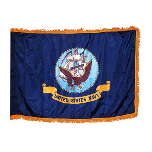 Navy 4x6ft Flag with Indoor Pole Hem and Fringe