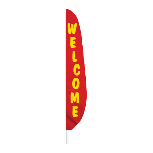 Feather Message Welcome Banner Flag - Red