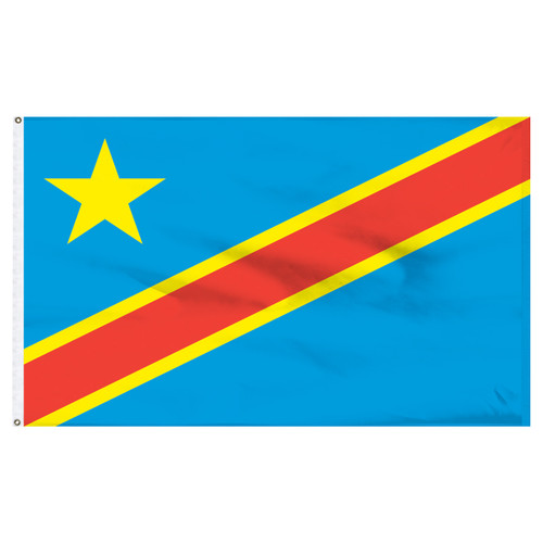 Congo Dem Republic 4ft x 6ft Nylon Flag with Indoor Pole Hem and Fringe