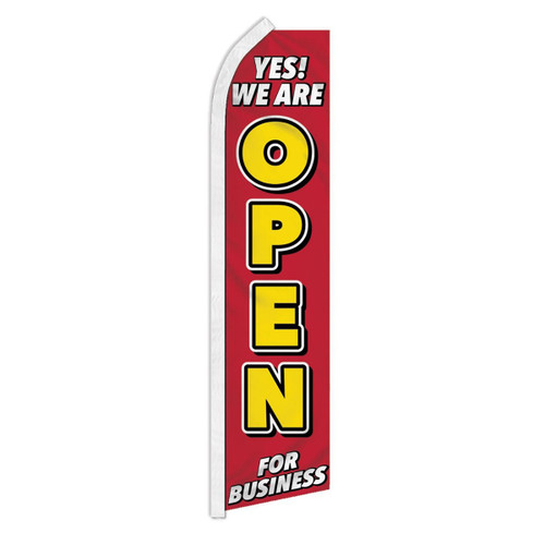 Yes We Are Open Swooper Flag