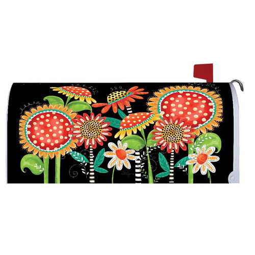 Fall Mailbox Cover - Happy Fall Flowers