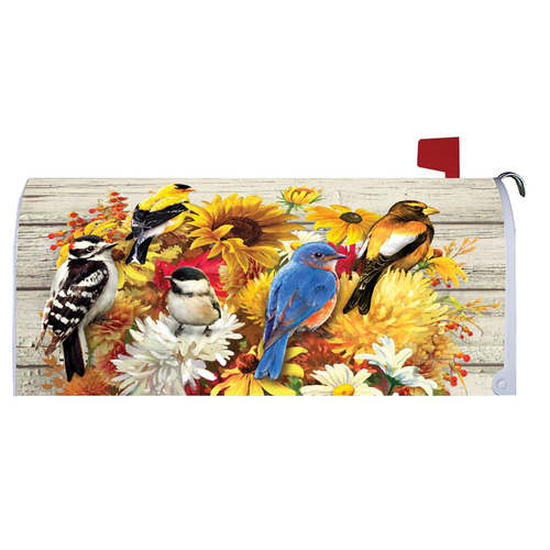 Fall Mailbox Cover - Fall Flowers & Birds