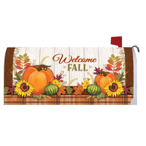 Fall Mailbox Cover - Pumpkin & Plaid