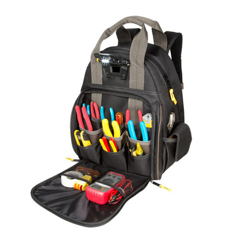 CLC Tech Gear Lighted Tool Backpack Bag - L255