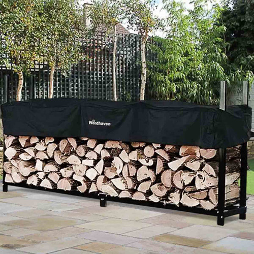 96'' Heavy-Duty Woodhaven Firewood Rack with Cover