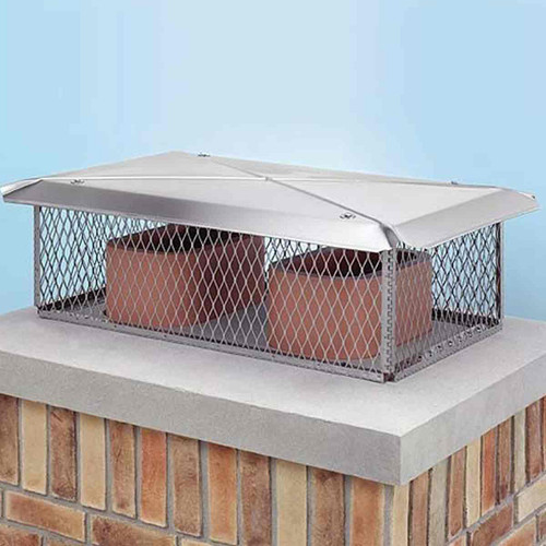 17'' x 49'' Gelco Stainless Steel Chimney Cap - 3-4'' Mesh-12'' Mesh Height