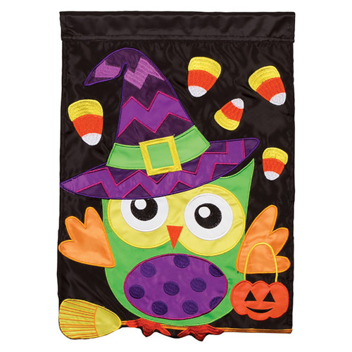Halloween Applique Banner Flag  - Trick or Treat Owl