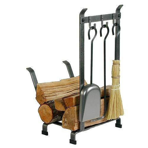 Country Home Log Rack with Tools