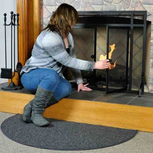 Andiron 4' Half Round Black Wool Fireplace Rug
