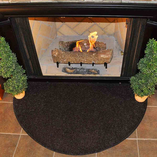 Flame 4' Half Round Polyester Fireplace Rug - Black