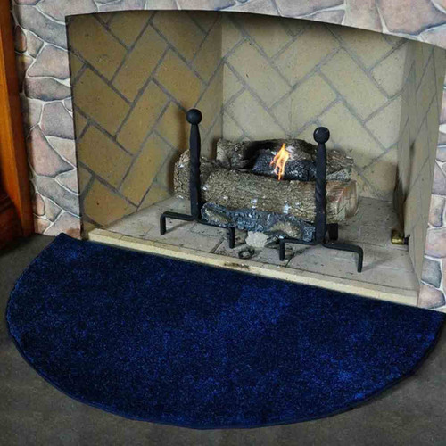 Flame 4' Half Round Fireplace Rug - Midnight Blue