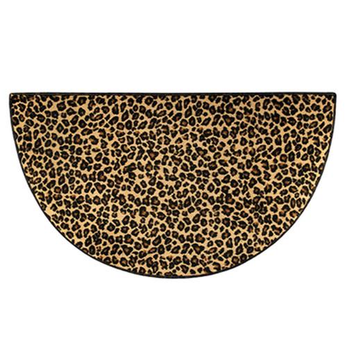 4' Half Round Leopard Print Hearth Rug