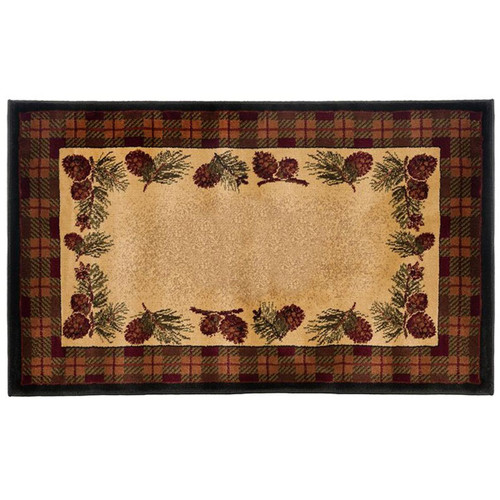 "50"" High Country Pine Cones Rectangle Hearth Rug"