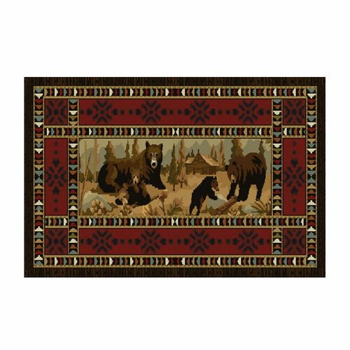 """50"""" High Country Bear's At Cabin Rectangle Hearth Rug - 11050"""