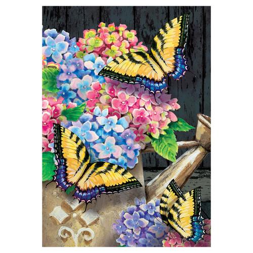 Spring Banner Flag - Hydrangea Butterflies