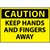 Caution Keep Hands And Fingers Away 3x5 Pressure Sensitive Vinyl Safety Label 5 Per Package