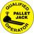 """Qualified Pallet Jack Operator, 2"""", Pressure Sensitive Vinyl Hard Hat Emblem, 25 per Pack"""