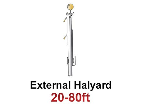 External Halyard Commercial Flagpoles