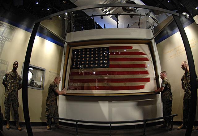 The Iwo Jima flag on display