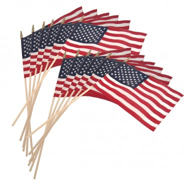 US Stick Flag 12in x 18in Standard Wood Stick with Spear Tip - 12PK