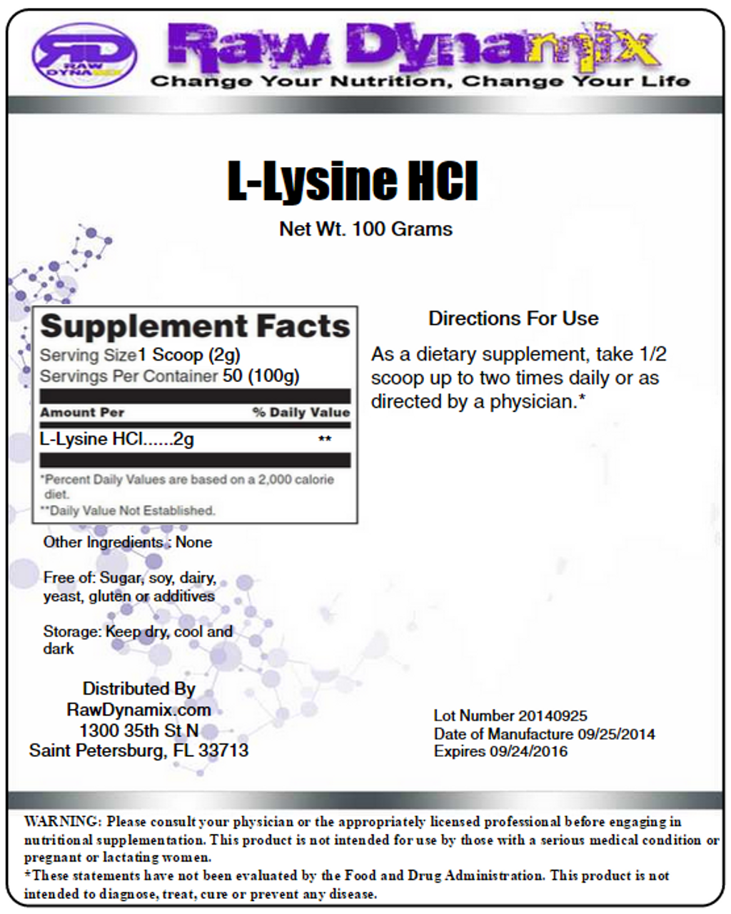 Lysine HCl Powder (100 Grams)