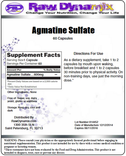 Agmatine Sulfate 600mg Capsules (60 Count)
