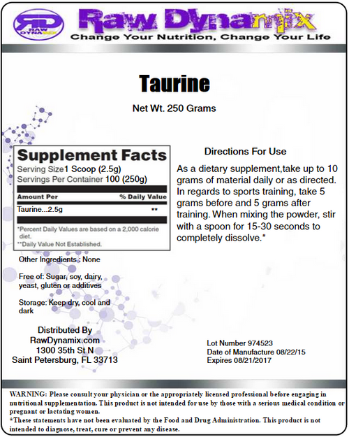 Taurine Powder (250 Grams)