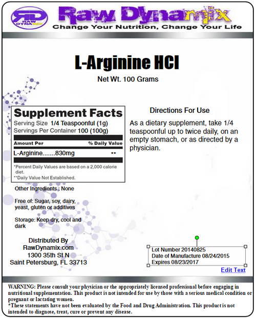 L-Arginine HCl Powder (100 Grams)