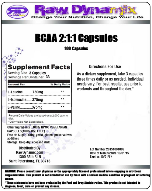 Branched Chain Amino Acids 2:1:1 Instantized (BCAA) 500mg Capsules