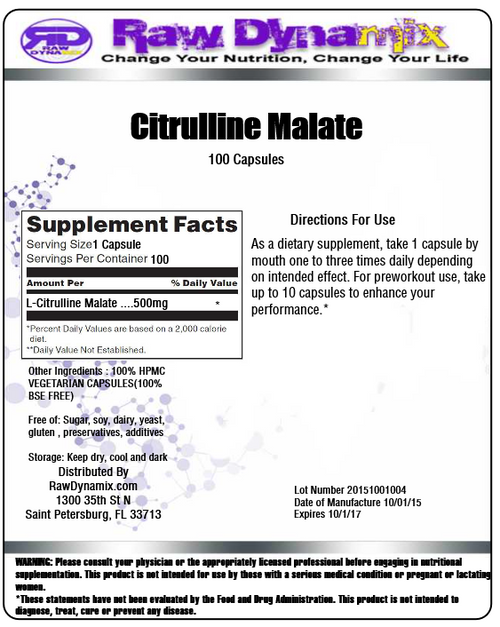 Citrulline Malate 500mg Capsules