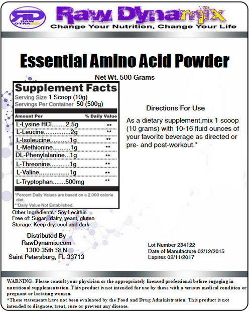 Essential Amino Acids (EAA) Blend 500 Grams