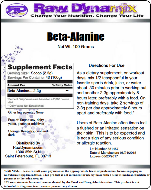 Beta-Alanine Powder 100 Grams