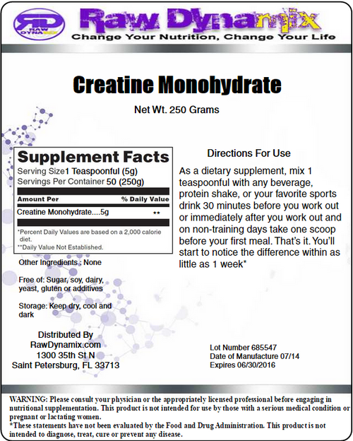 Creatine Monohydrate 250 Grams