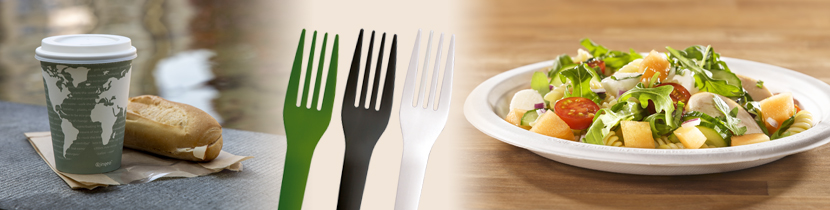 Disposable coffee cups with lids, eco friendly plates and cutlery by Wares of Knutsford