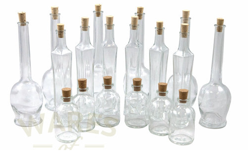 Small and Miniature Glass Bottles with Corks