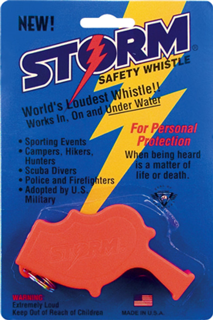 Storm Safety and Survival whistle is the loudest police whistle and industrial safety alarm in the world.  Used in disaster relief, search and rescue and military professionals along with lifeguards and personal safety.