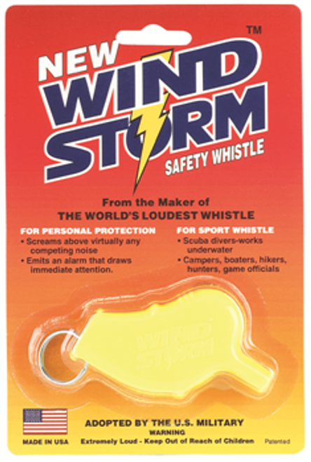 Windstorm Safety and Survival whistle is the loudest police whistle and industrial safety alarm in the world.  Used in disaster relief, search and rescue and military professionals along with lifeguards and personal safety.