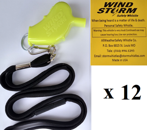 Windstorm Yellow  with breakaway lanyard  Loudest Whistle in World 12 pack