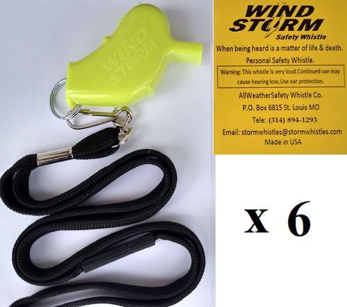 Windstorm Yellow with breakaway lanyard  Loudest Whistle in World 6 pack