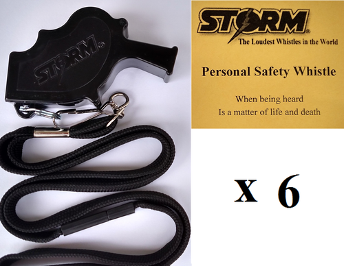 Black Storm  with breakaway lanyard  Loudest Whistle in World 6 pack