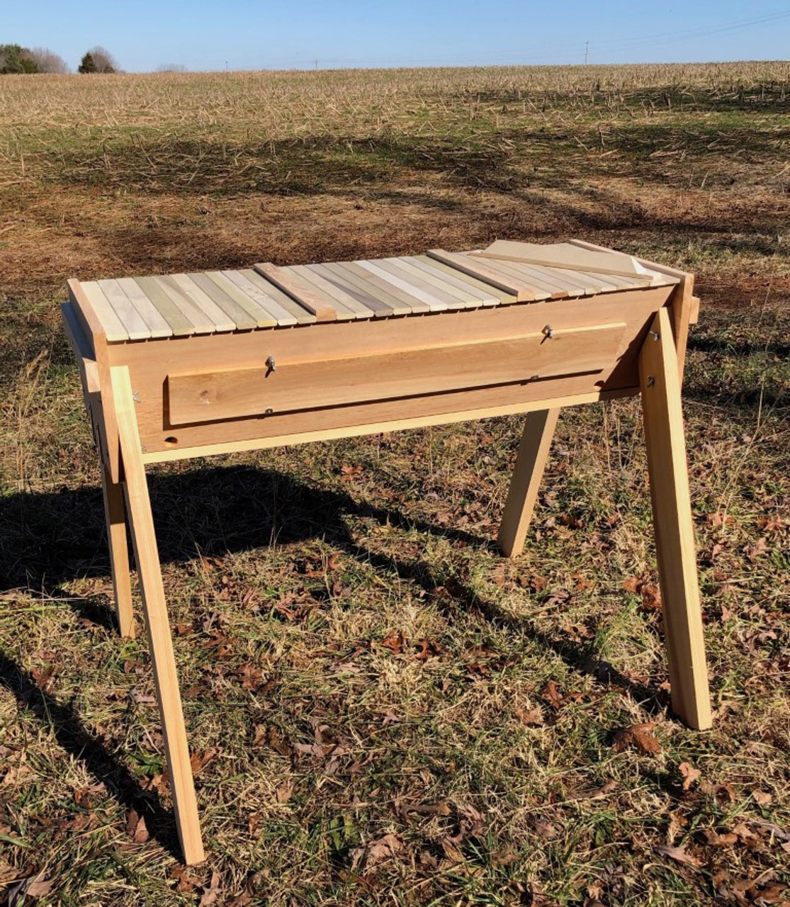 The picture shows the Gold Star top bar hive - with the roof off, revealing the 30 top bars, all touching, and the raised tops of the two follower boards.