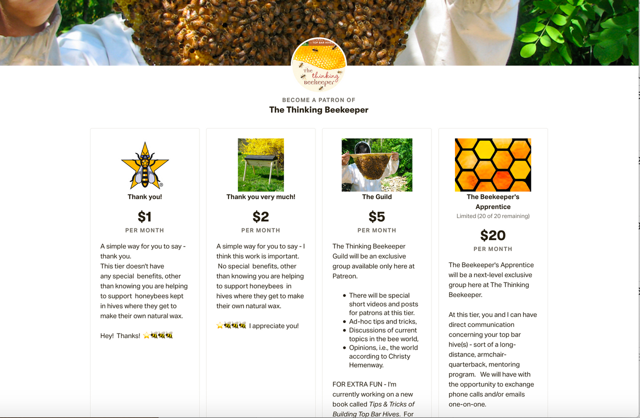 Patreon - The Thinking Beekeeper