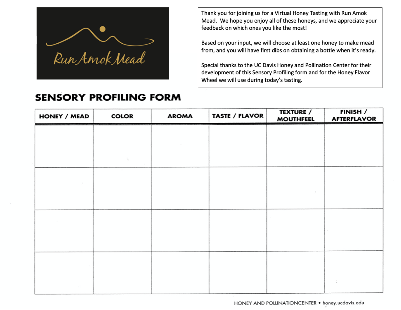 Record your impressions of each honey and share them with us!  We will use your input to decide what honey we will use in our next batch.  Please download and print 2 copies for use during our upcoming Virtual Tasting.  The downloadable file becomes available upon your purchase of the Virtual Honey Tasting.