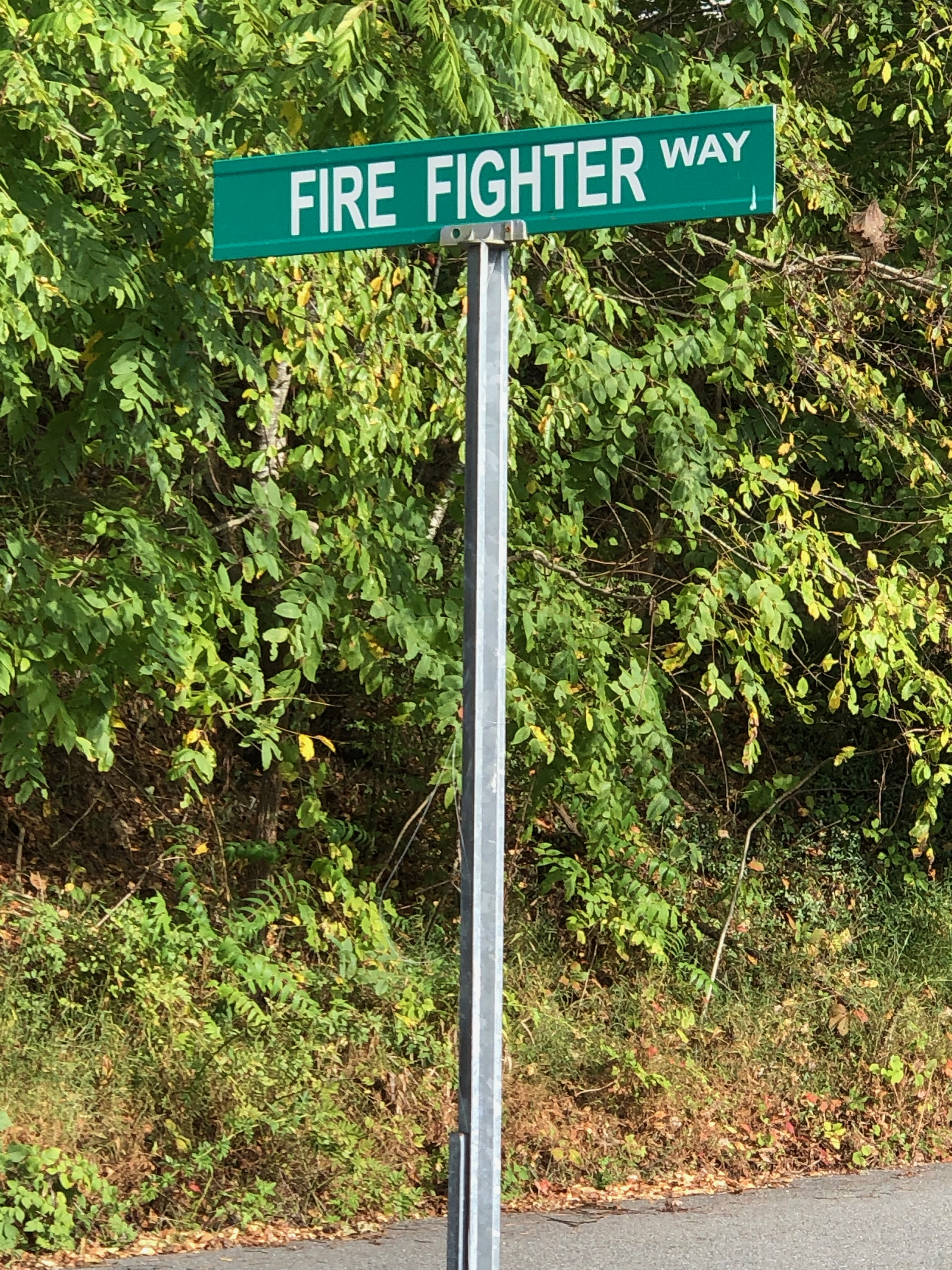 100 Firefighter Way sign