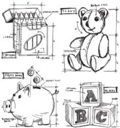Stampers Anonymous Tim Holtz Cling Mounted Stamp Set - Childhood Blueprint