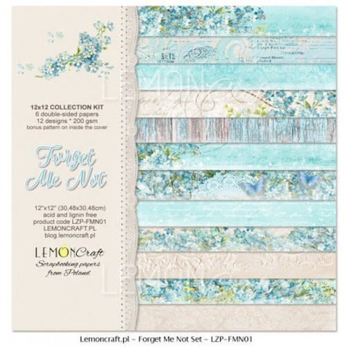 Lemoncraft - Stack of Collection Scrapbooking Papers - Forget Me Not
